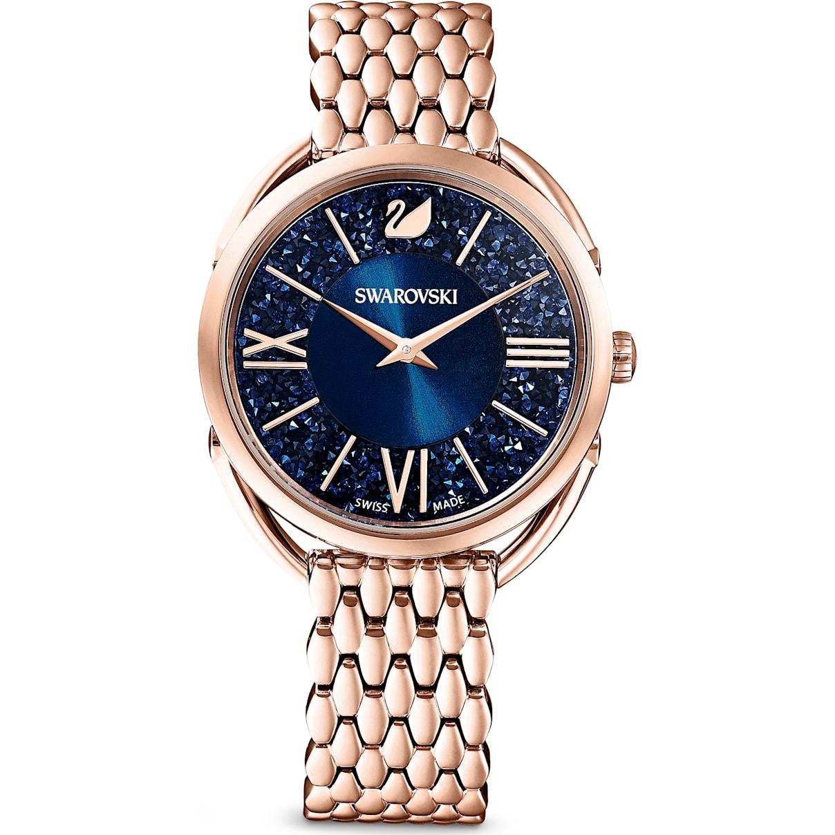 Swarovski Crystalline Glam Watch, Metal Bracelet, Blue, Rose-gold tone PVD