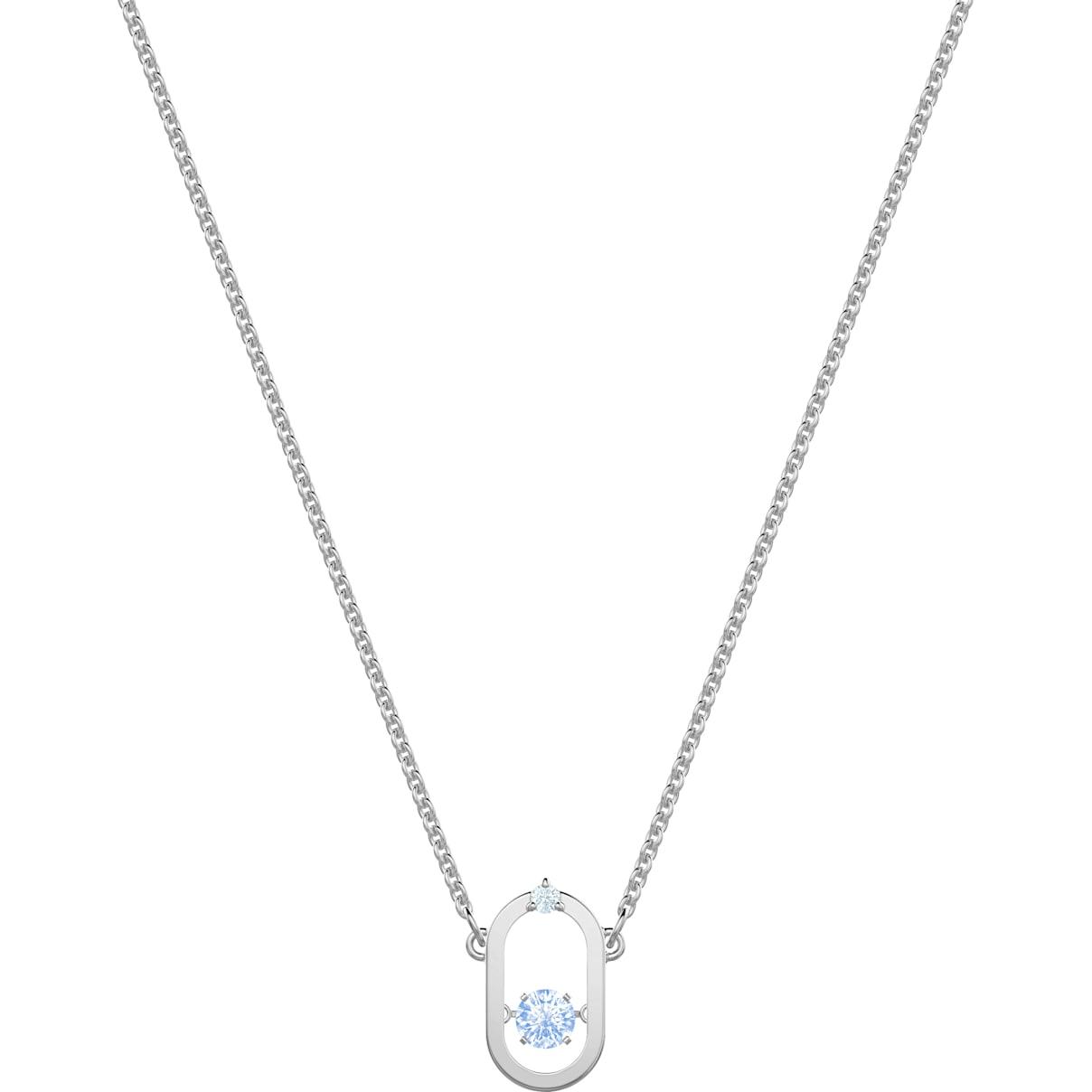 Swarovski Sparkling Dance Necklace, Blue, Rhodium plated