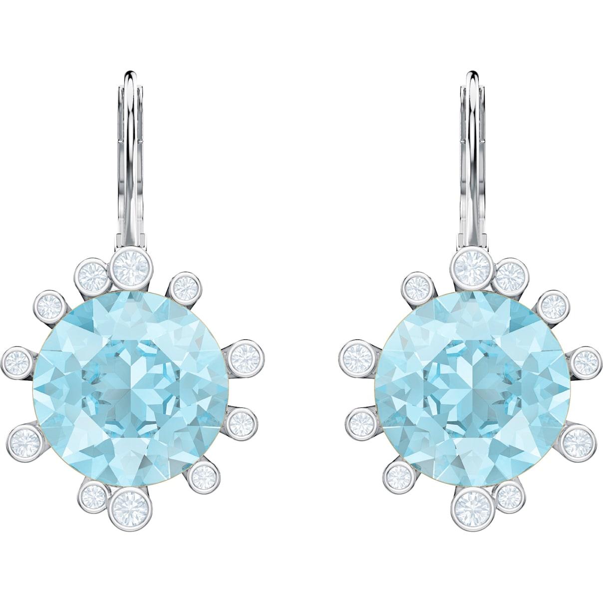 Swarovski Olive Pierced Earrings, Aqua, Rhodium plated