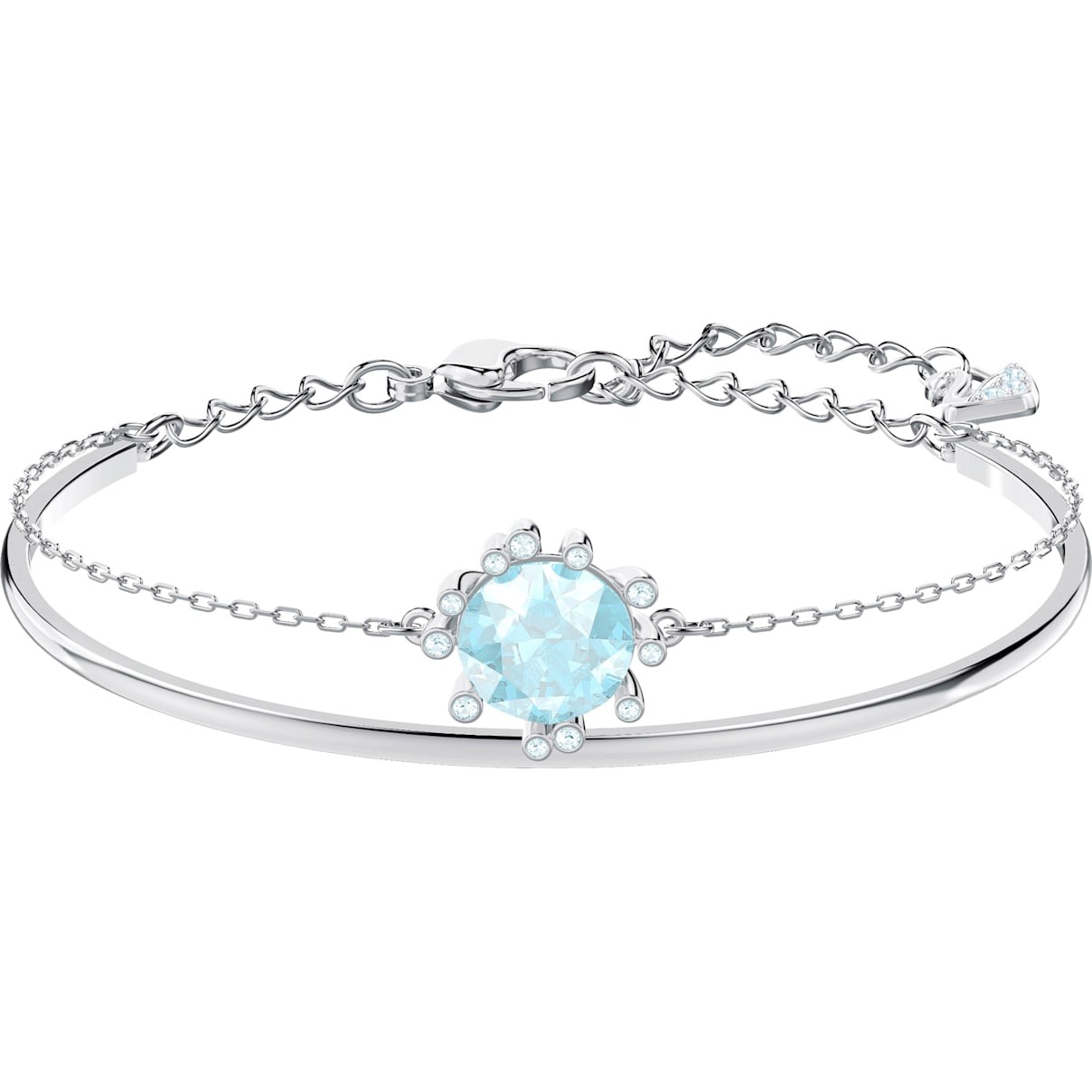 Swarovski Olive Bangle, Aqua, Rhodium plated