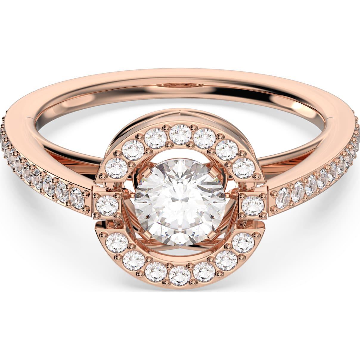 Swarovski Swarovski Sparkling Dance Round Ring, White, Rose-gold tone plated