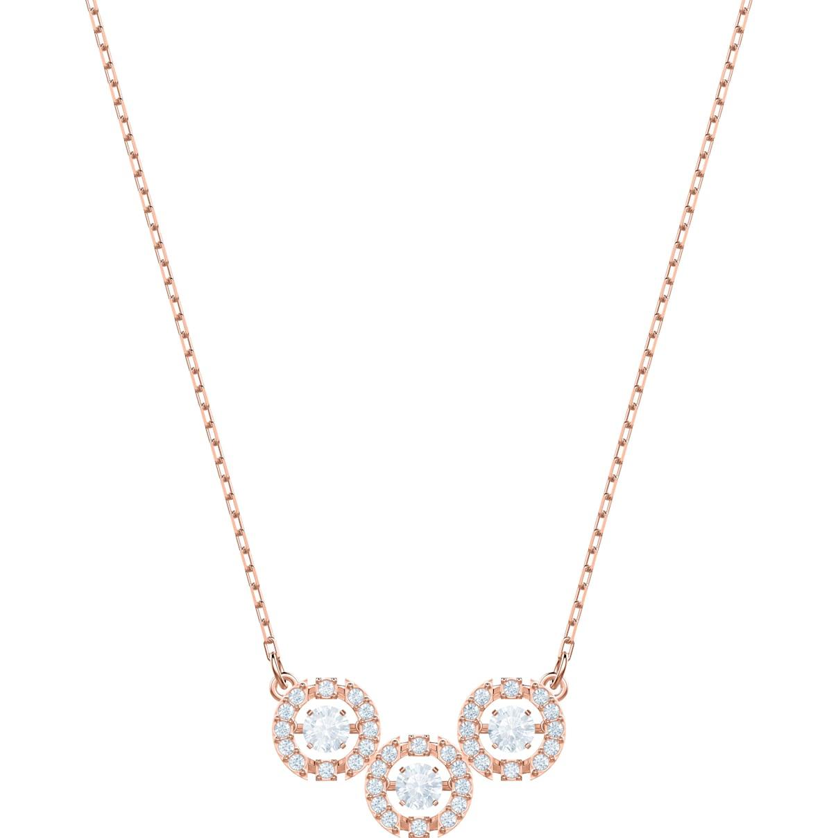 Swarovski Swarovski Sparkling Dance Trilogy Necklace, White, Rose-gold tone plated
