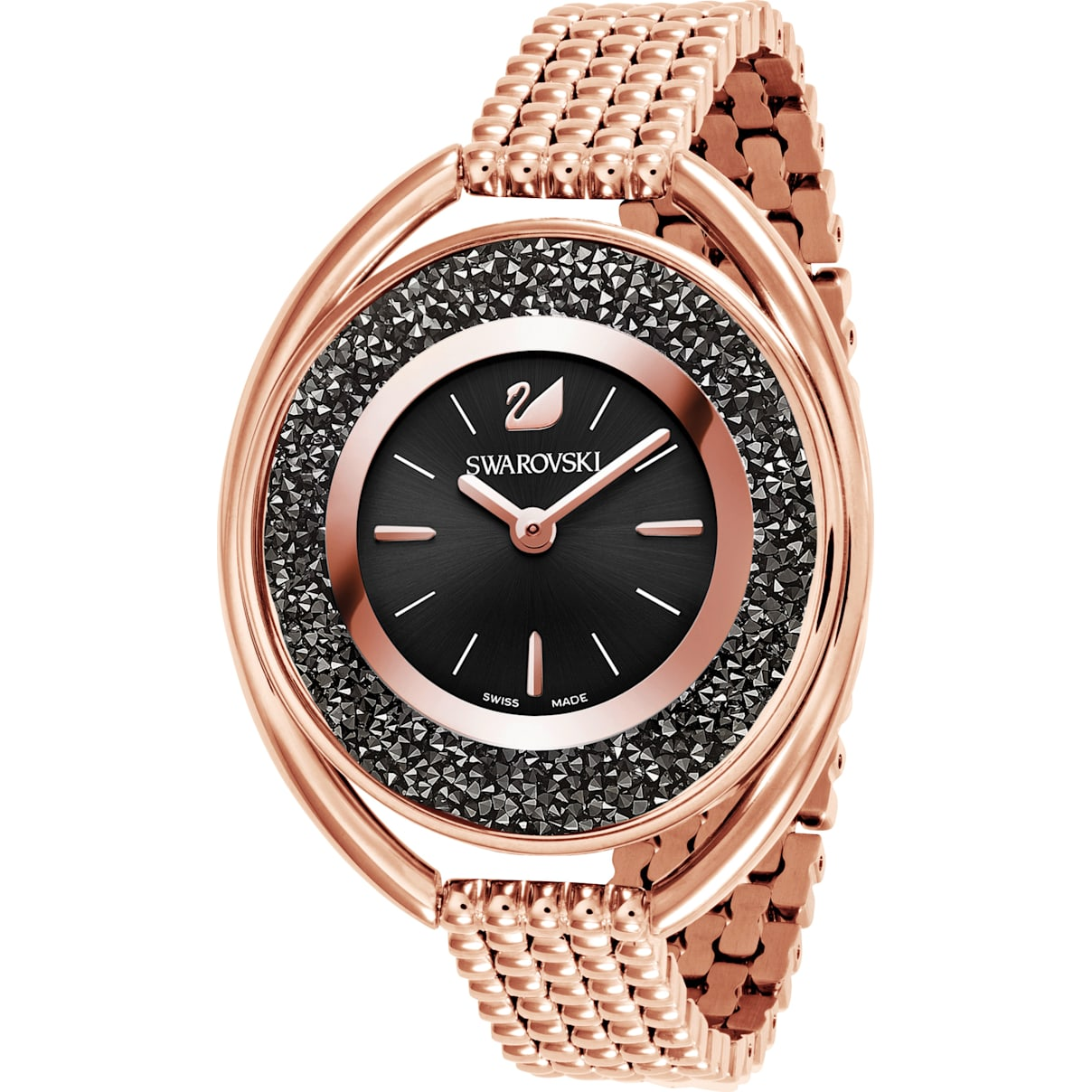 Swarovski Crystalline Oval Watch, Metal bracelet, Black, Rose-gold tone PVD