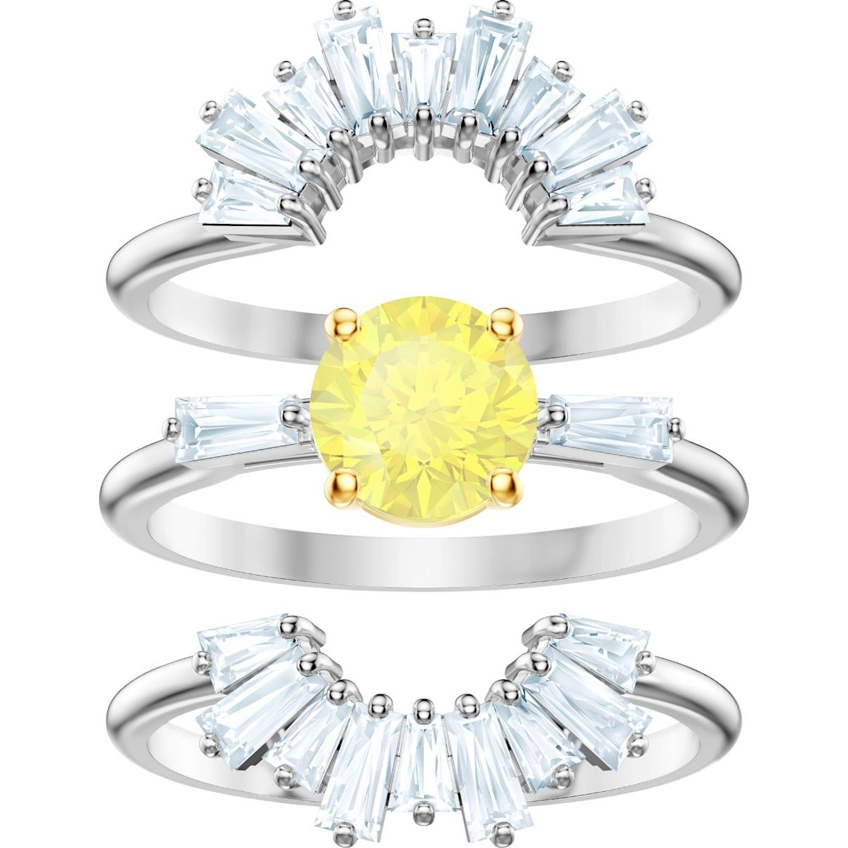 Swarovski Sunshine Ring Set, White, Rhodium plated