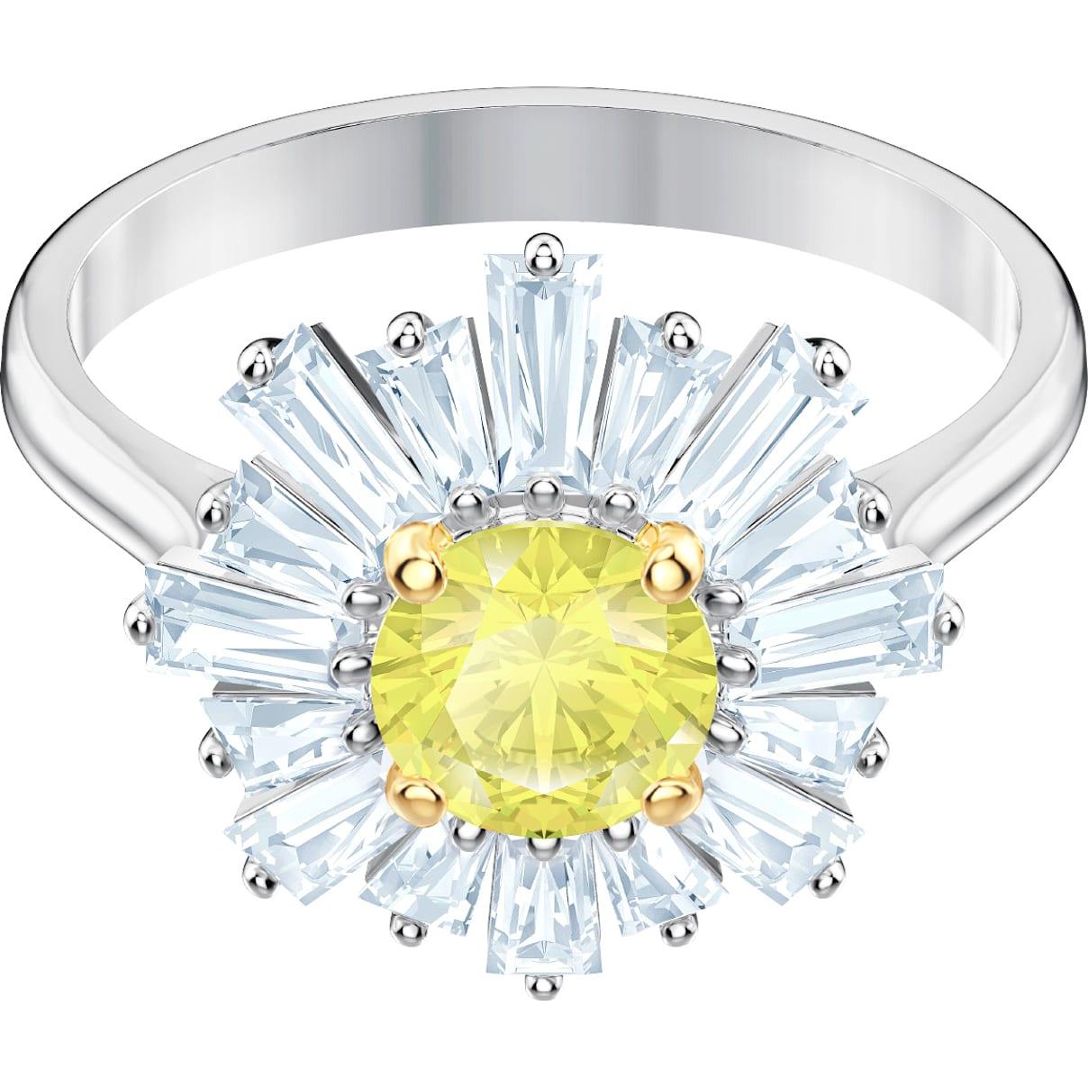 Swarovski Sunshine Ring, Yellow, Rhodium plated
