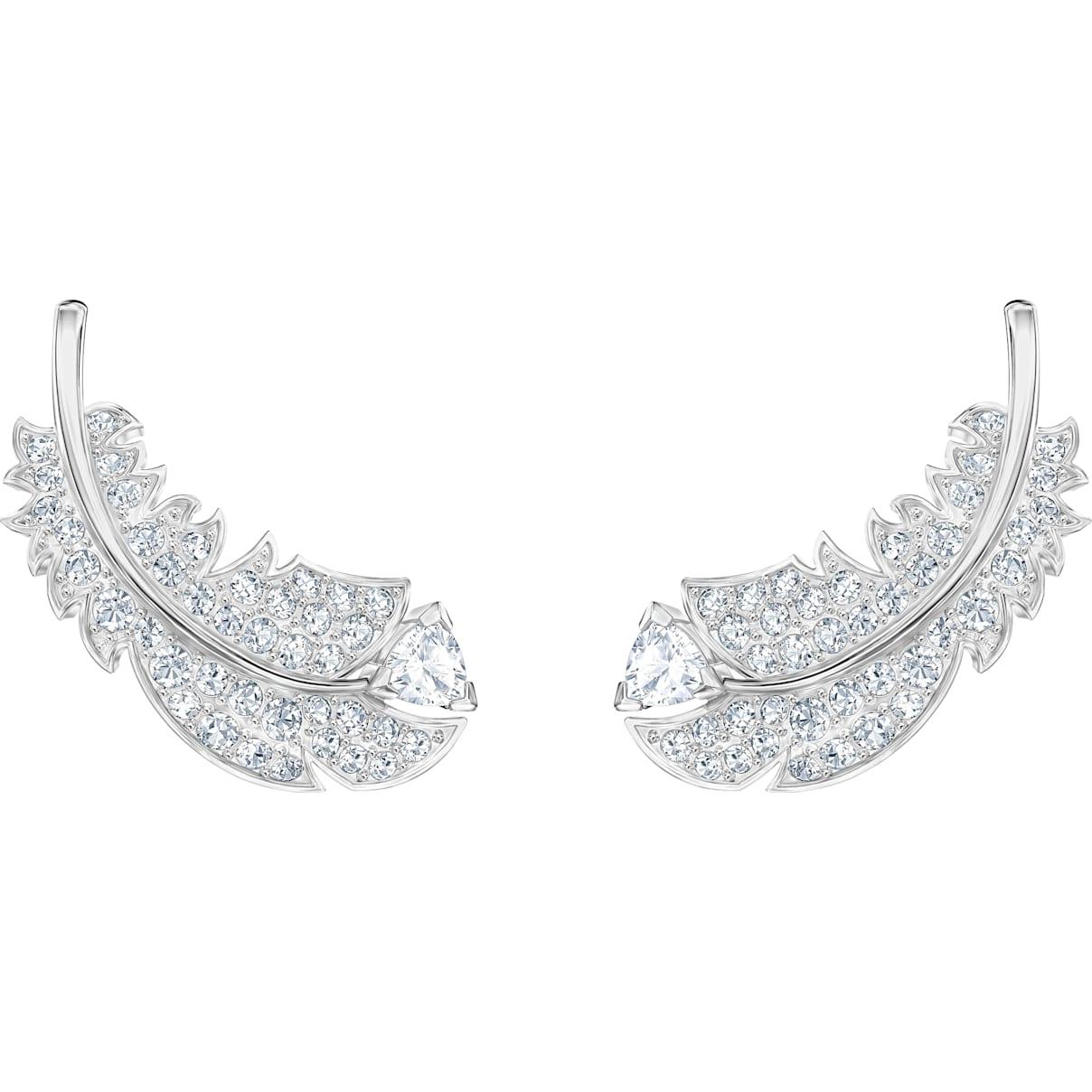 Swarovski Nice Stud Pierced Earrings, White, Rhodium plated