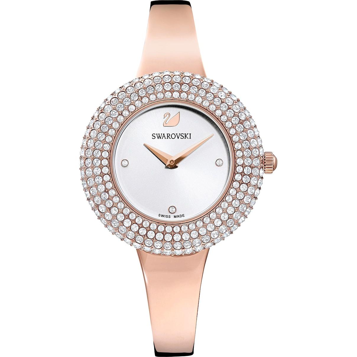 Swarovski Crystal Rose Watch, Metal Bracelet, White, Rose-gold tone PVD
