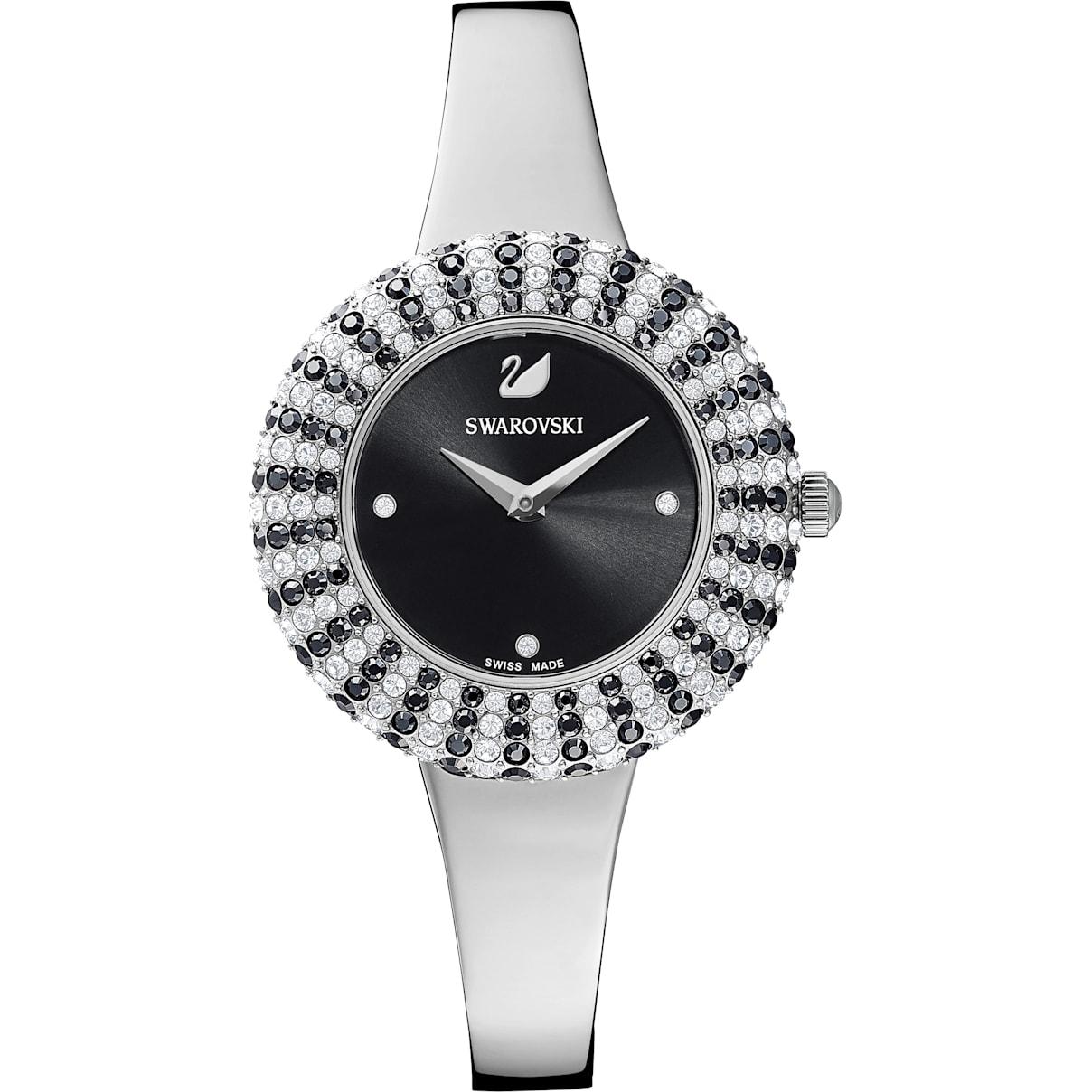 Swarovski Crystal Rose Watch, Metal Bracelet, Black, Stainless Steel