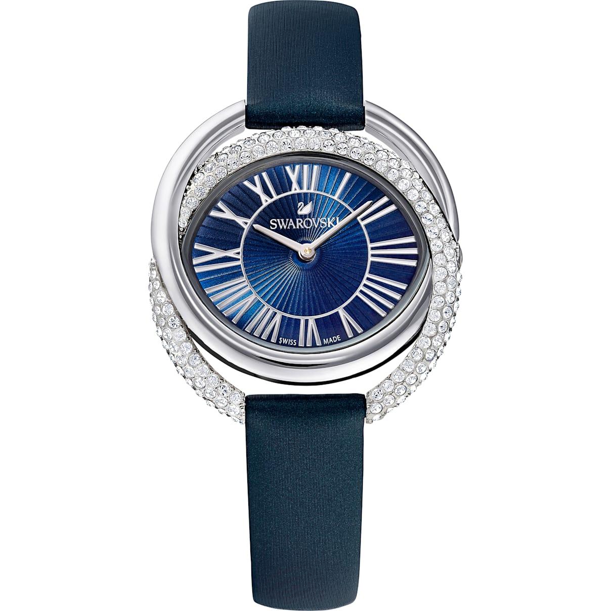 Swarovski Duo Watch, Leather Strap, Blue, Stainless Steel