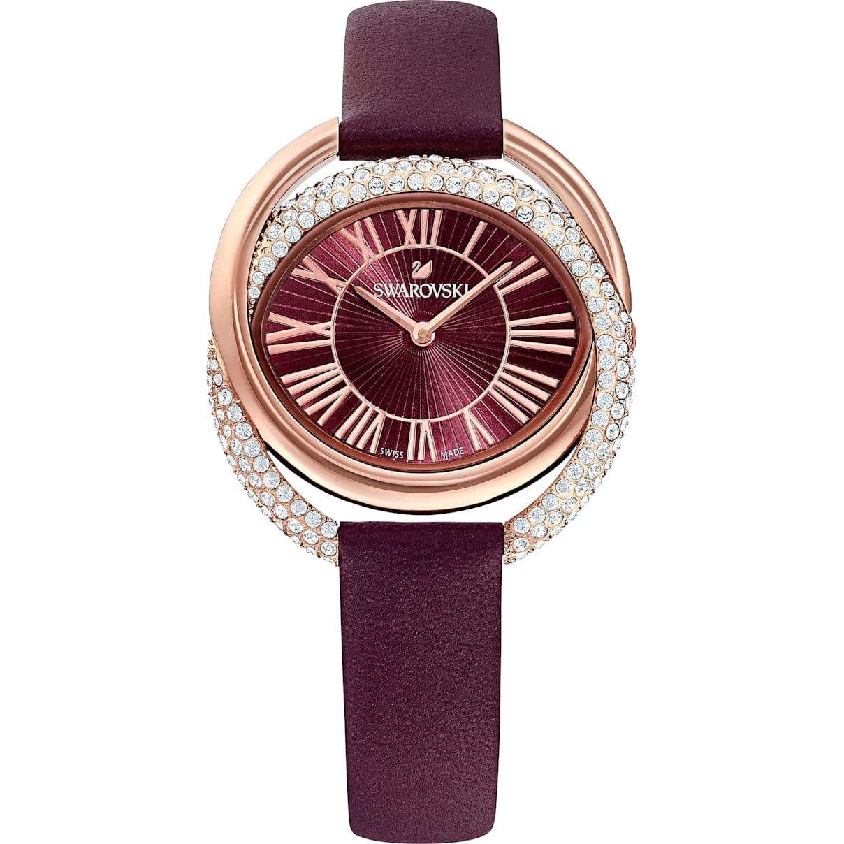 Swarovski Duo Watch, Leather Strap, Dark red, Rose-gold tone PVD