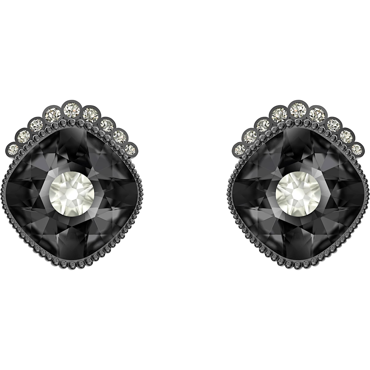 Swarovski Black Baroque Stud Pierced Earrings, Dark gray, Ruthenium plated