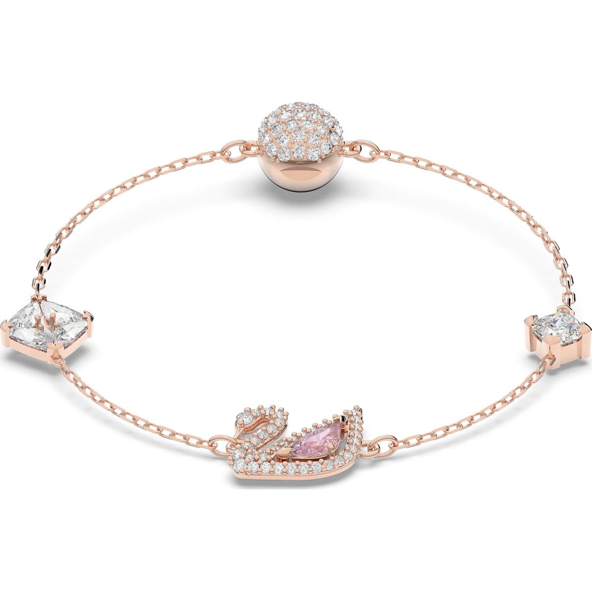 Swarovski Dazzling Swan Bracelet, Multi-colored, Rose-gold tone plated