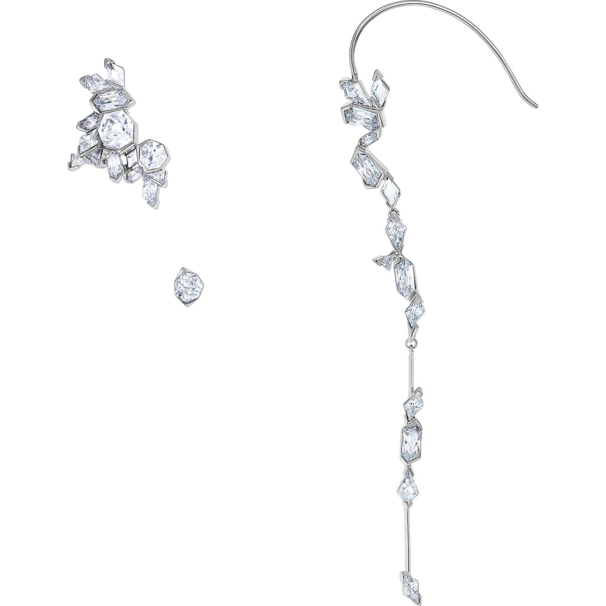 Swarovski Ice Crack Ear Cuff, White, Ruthenium plated