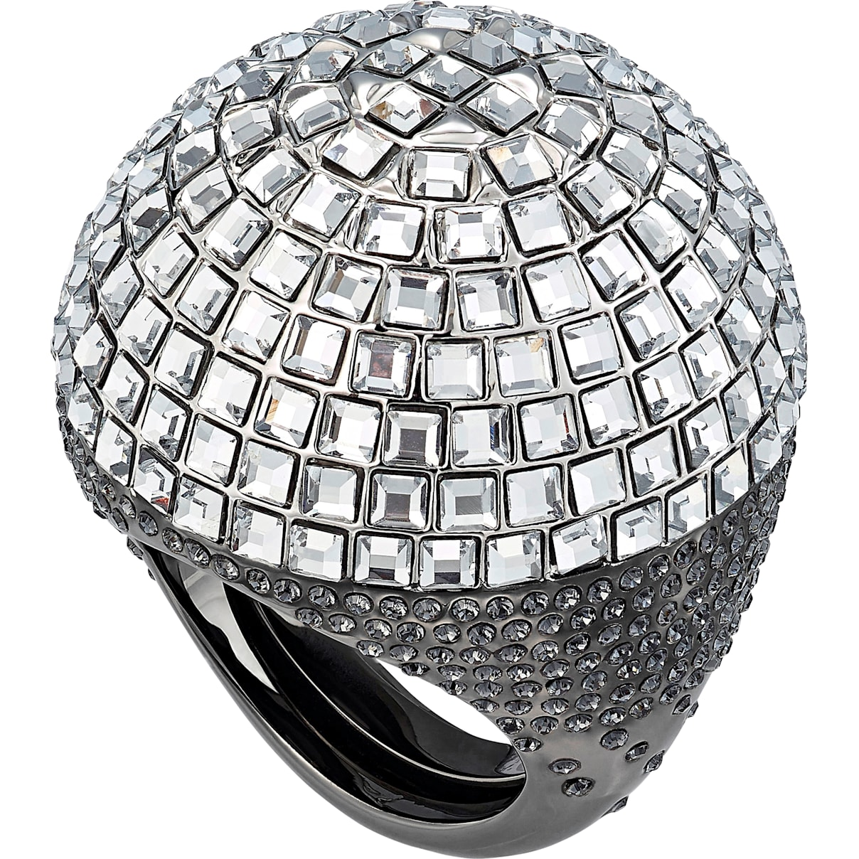 Swarovski Celestial Fit Cocktail Ring, Gray, Black Ruthenium