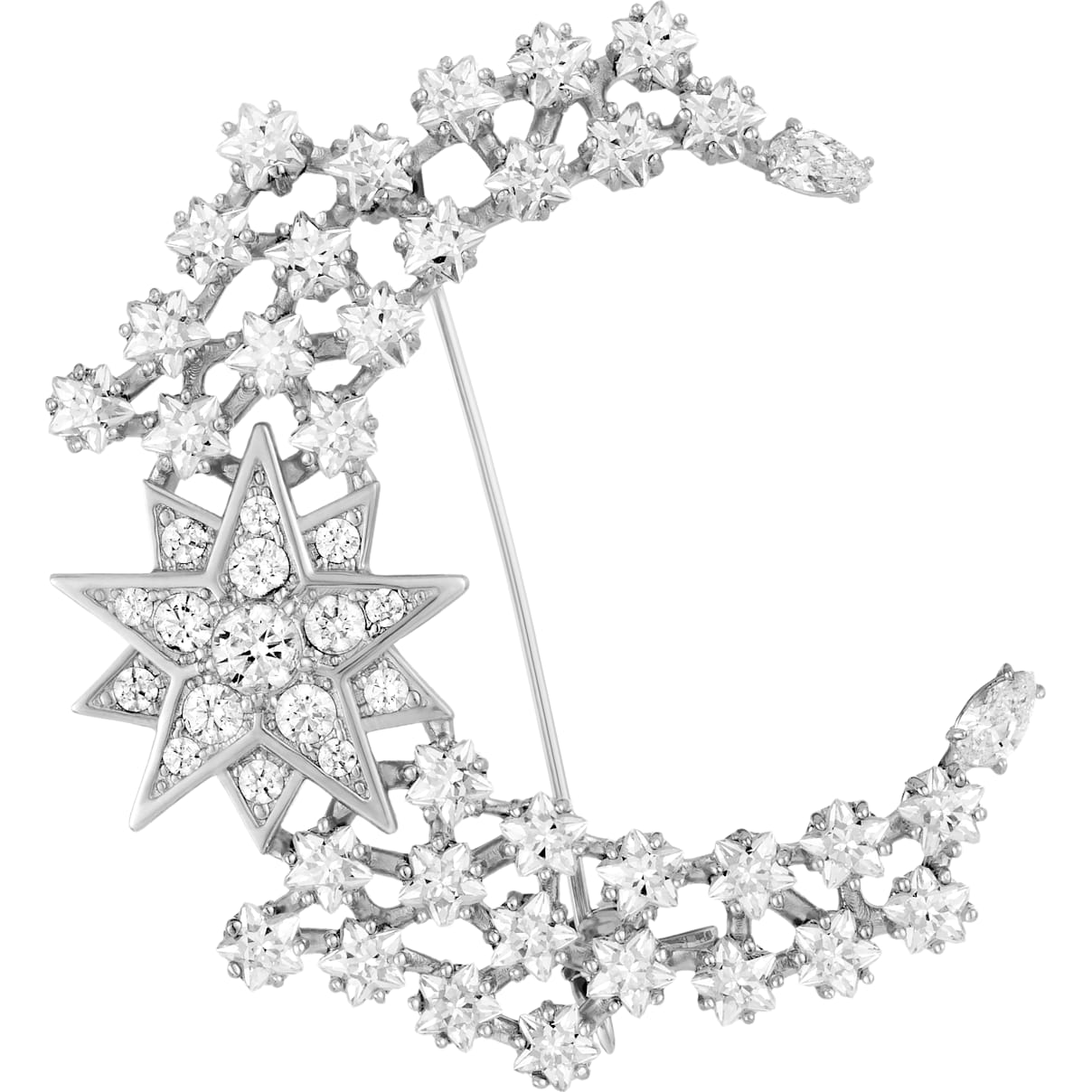 Swarovski Penélope Cruz Moonsun Brooch, Limited Edition, White, Rhodium plated