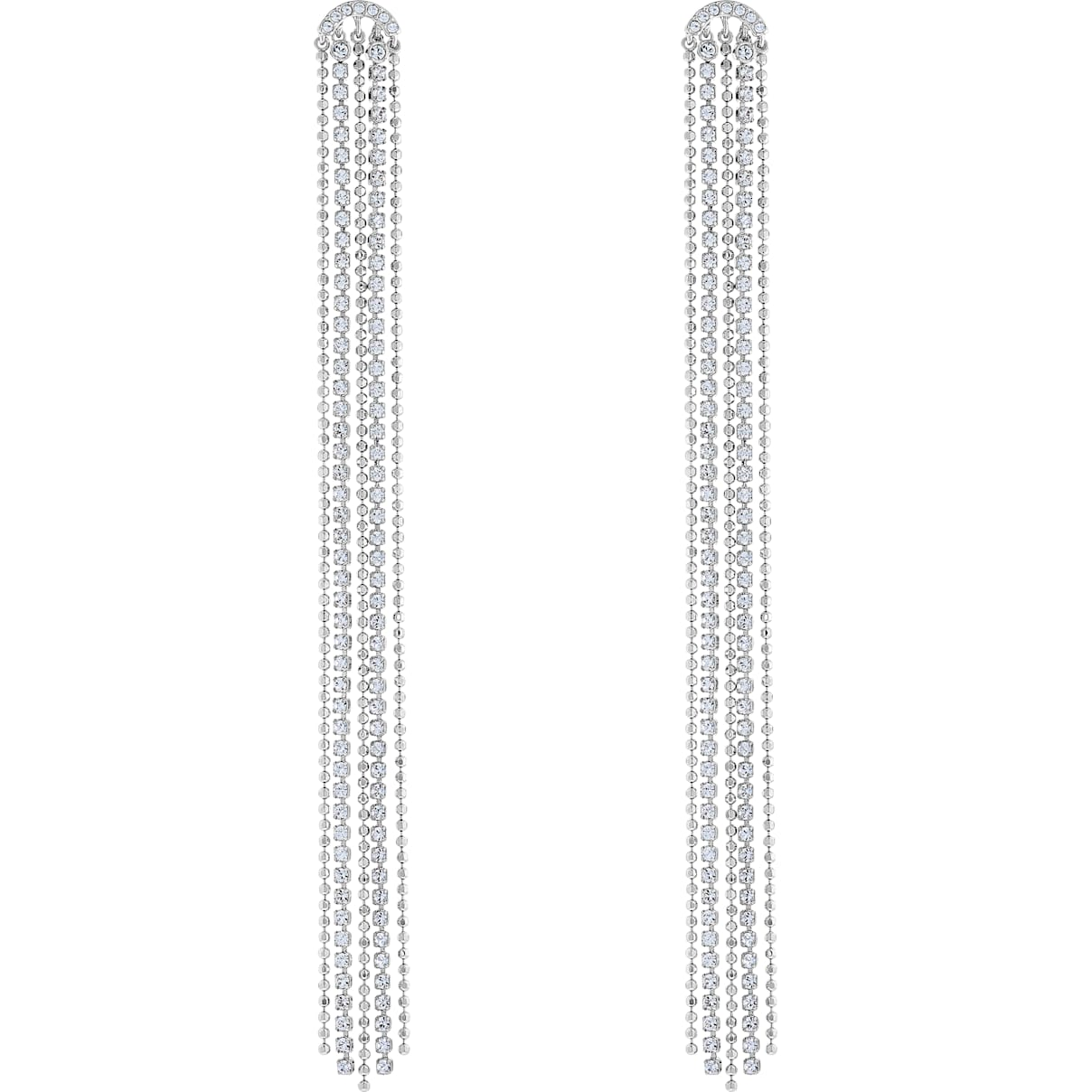 Swarovski Fit Pierced Tassell Earrings, White, Rhodium plated