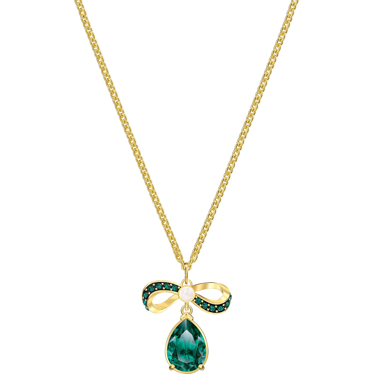 Swarovski Black Baroque Pendant, Green, Gold-tone plated