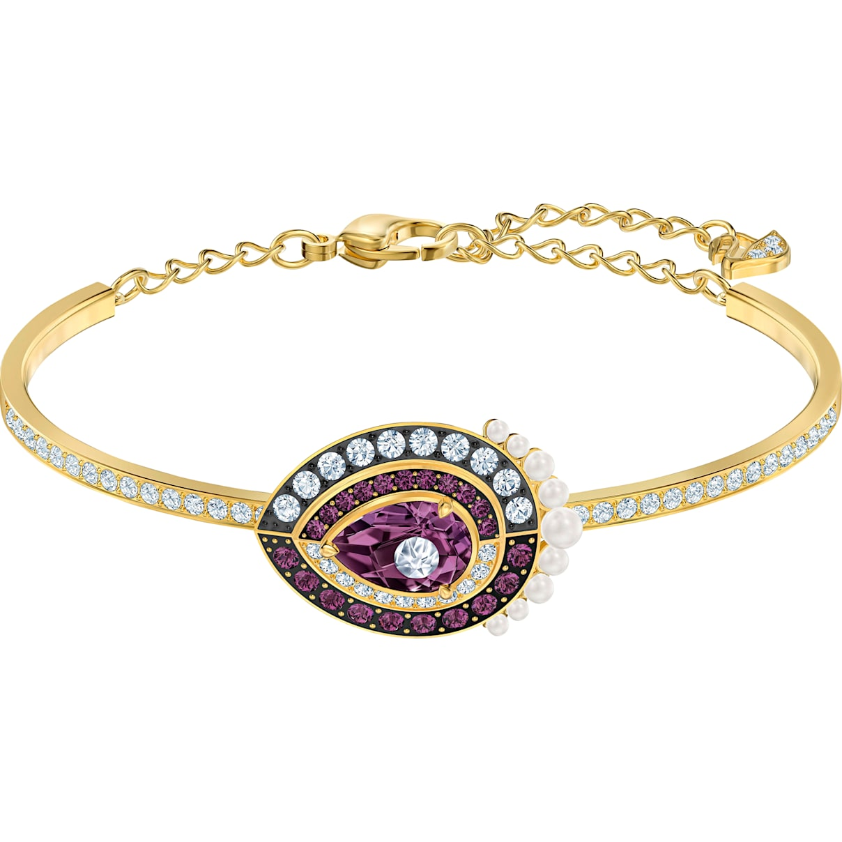 Swarovski Black Baroque Bangle, Multi-colored, Gold-tone plated