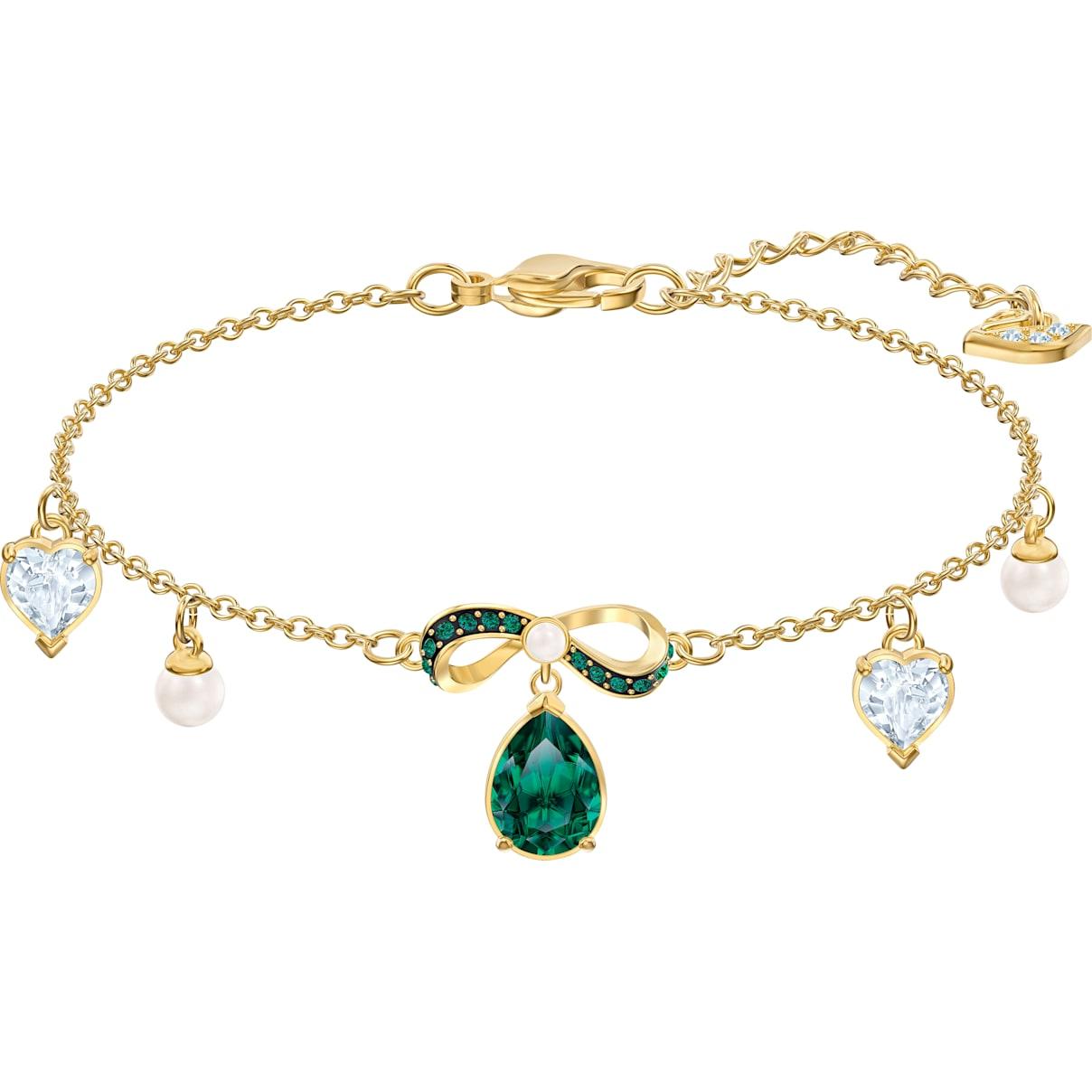 Swarovski Black Baroque Bracelet, Multi-colored, Gold-tone plated