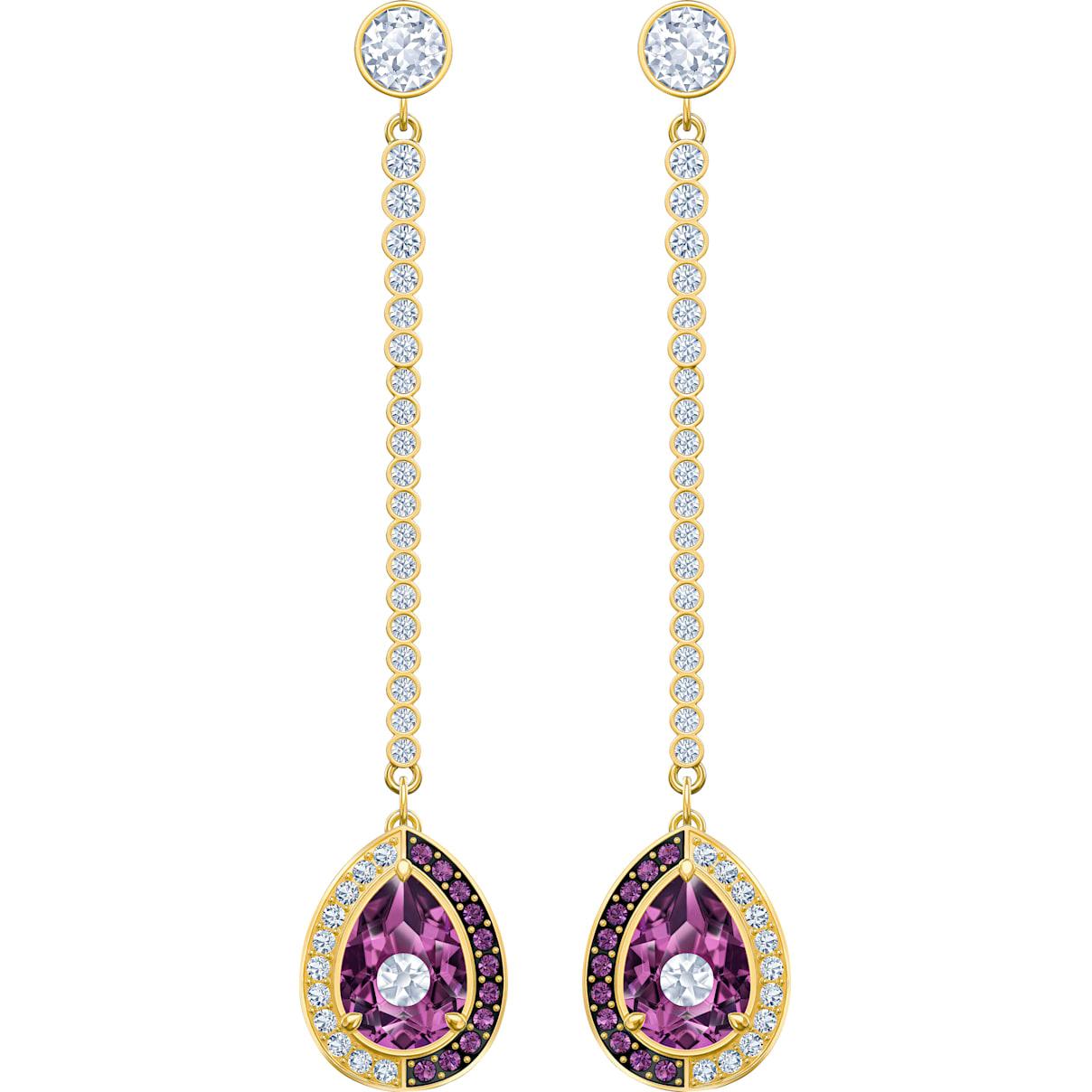Swarovski Black Baroque Drop Pierced Earrings, Purple, Gold-tone plated