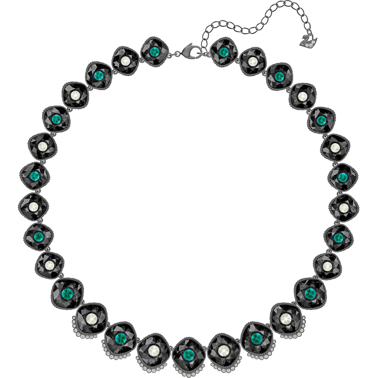 Swarovski Black Baroque Necklace, Multi-colored, Ruthenium plated