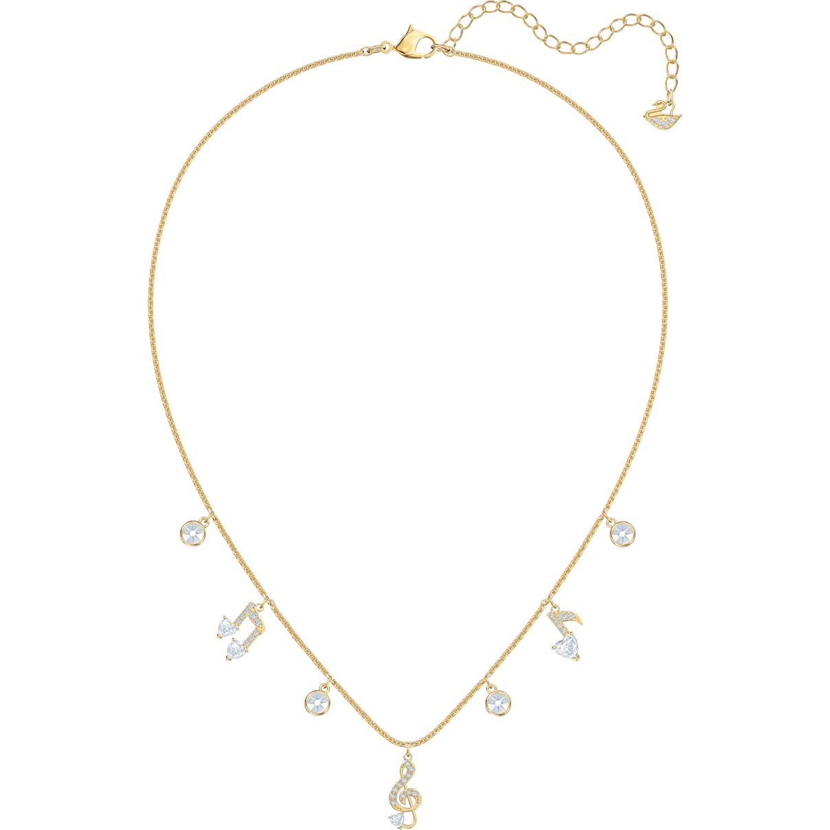 Swarovski Pleasant Necklace, White, Gold-tone plated