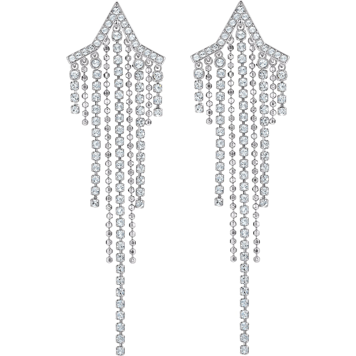 Swarovski Fit Star Pierced Tassell Earrings, White, Rhodium plated