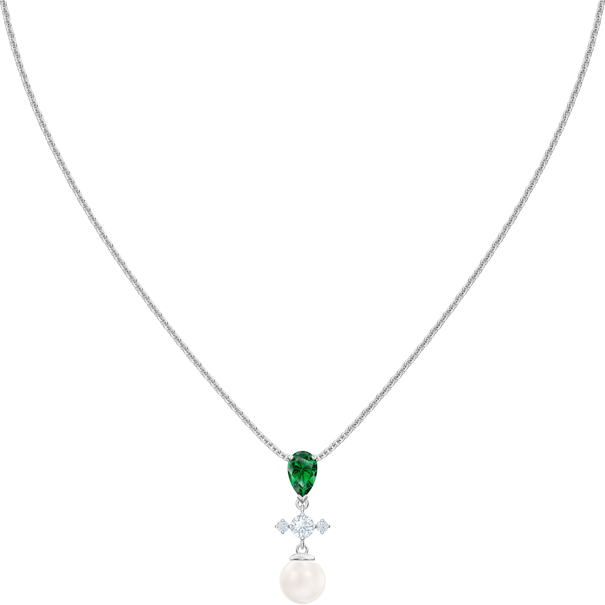 Swarovski Perfection Necklace, Green, Rhodium plated