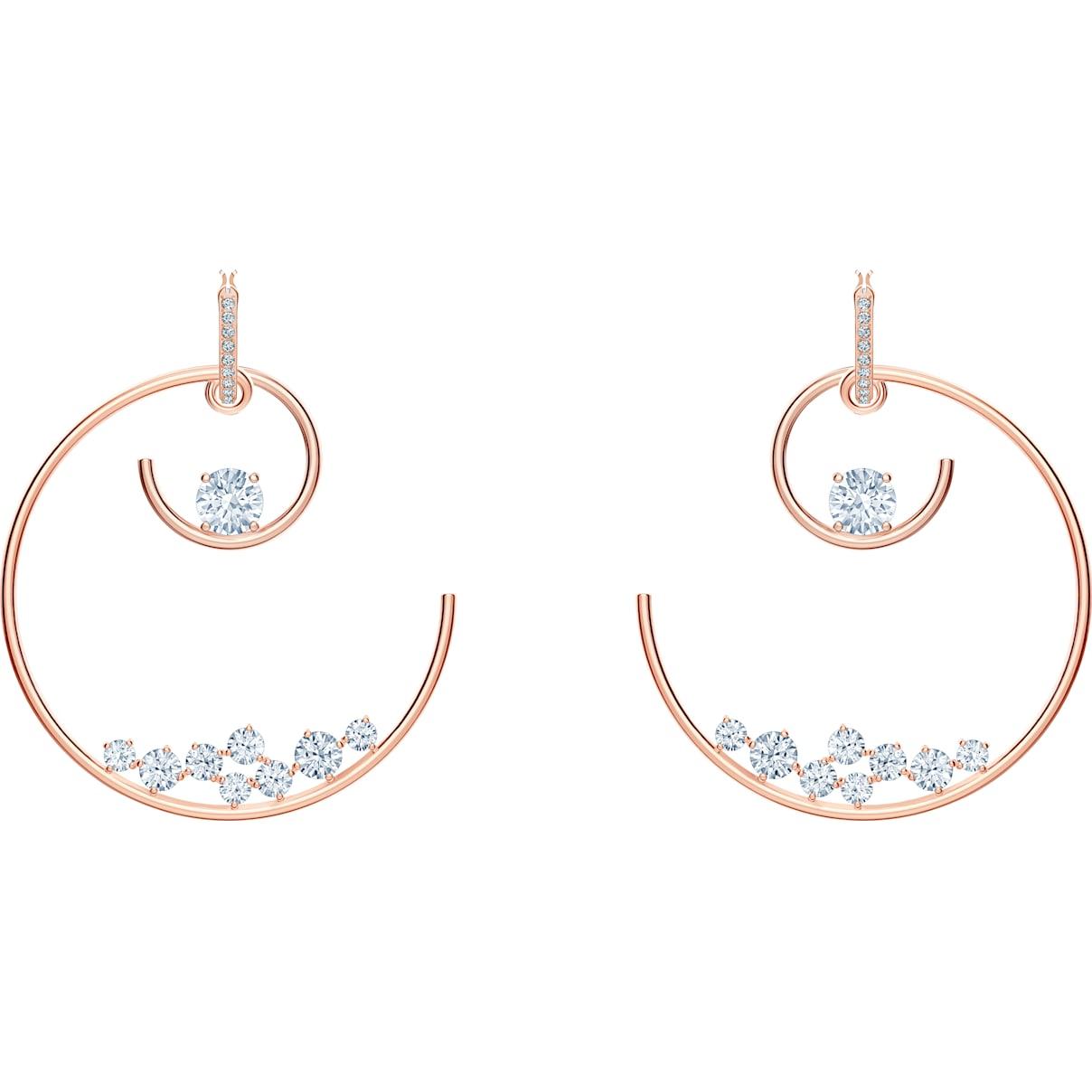 Swarovski North Hoop Pierced Earrings, White, Rose-gold tone plated