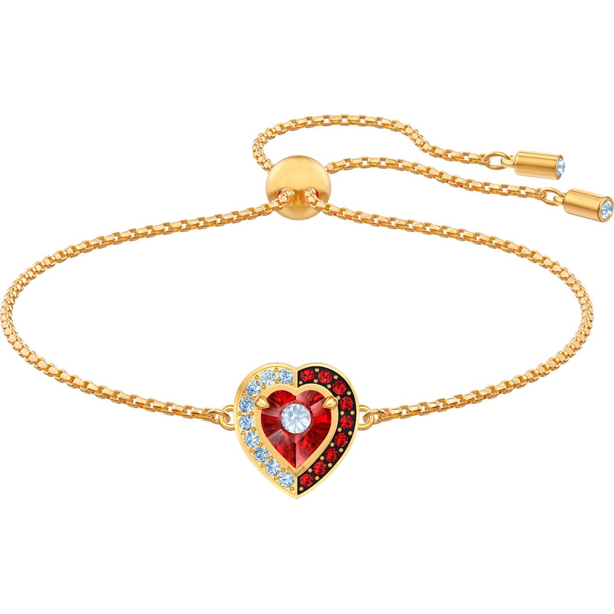 Swarovski Black Baroque Bracelet, Red, Gold-tone plated