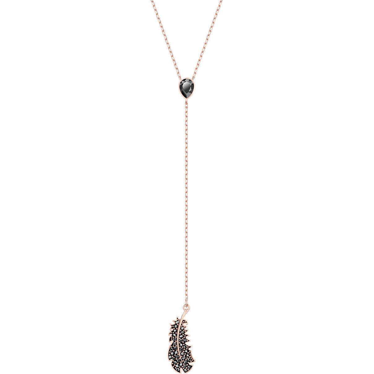 Swarovski Naughty Y Necklace, Black, Rose-gold tone plated