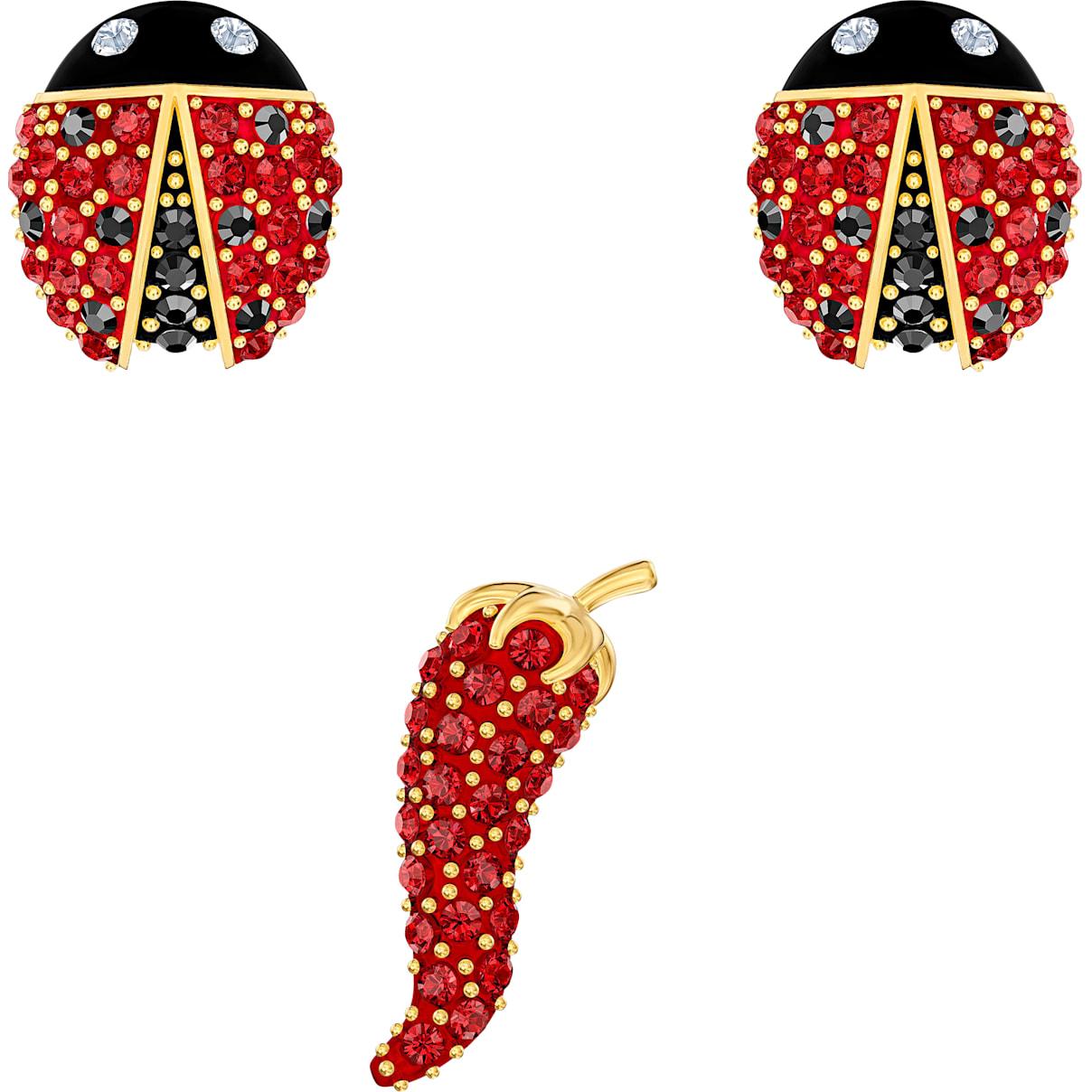 Swarovski Lisabel Pierced Earrings set, Red, Gold-tone plated