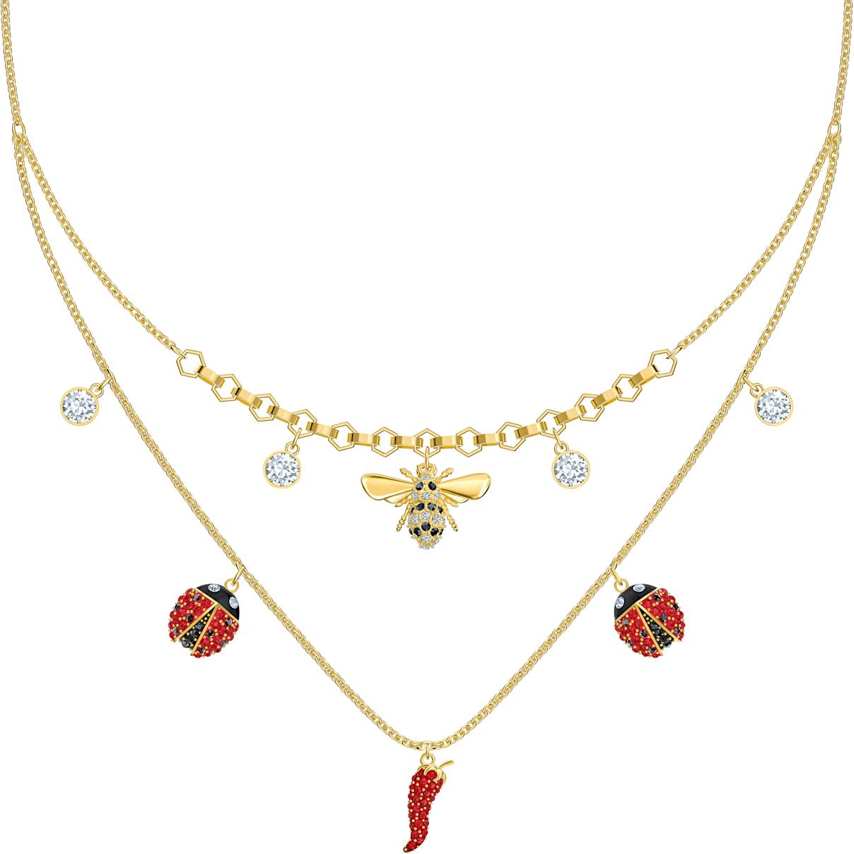 Swarovski Lisabel Necklace, Red, Gold-tone plated