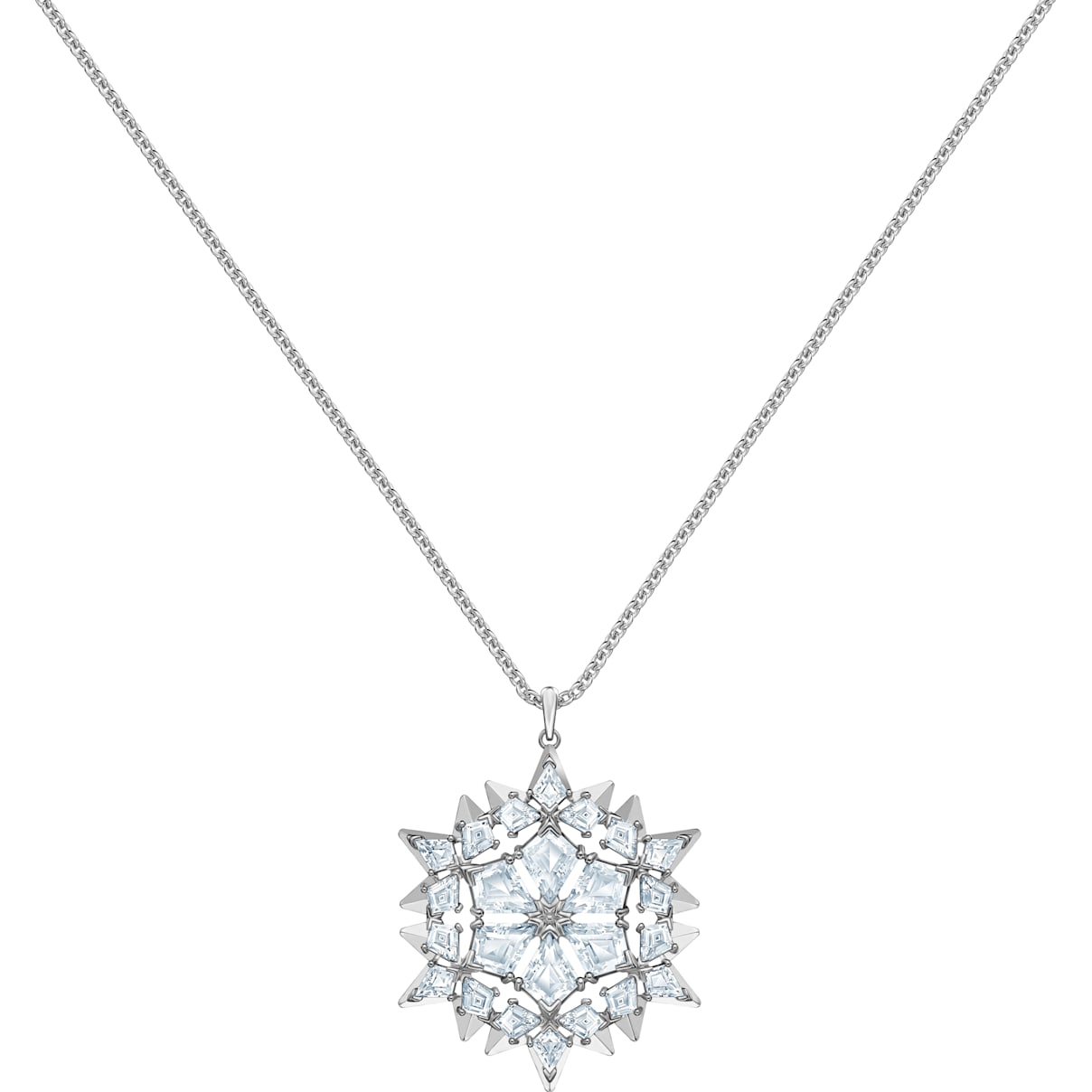 Swarovski Magic Snow Pendant, White, Rhodium plated