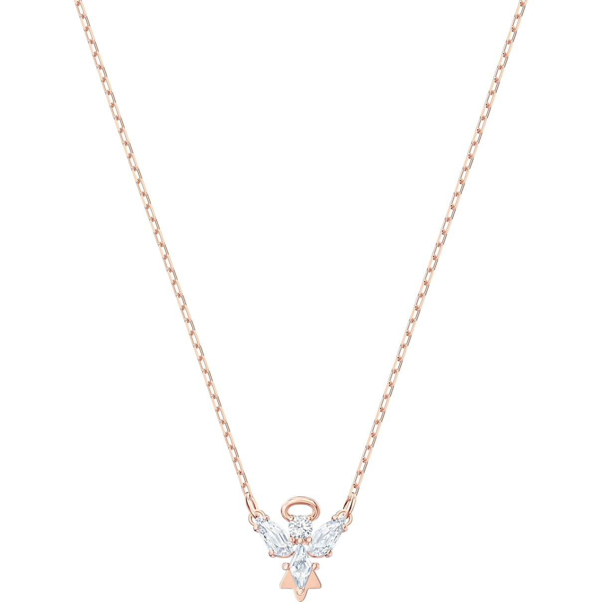 Swarovski Magic Angel Necklace, White, Rose-gold tone plated