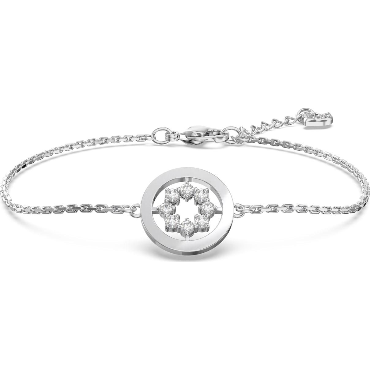 Swarovski Further Circle Bracelet, White, Rhodium plated