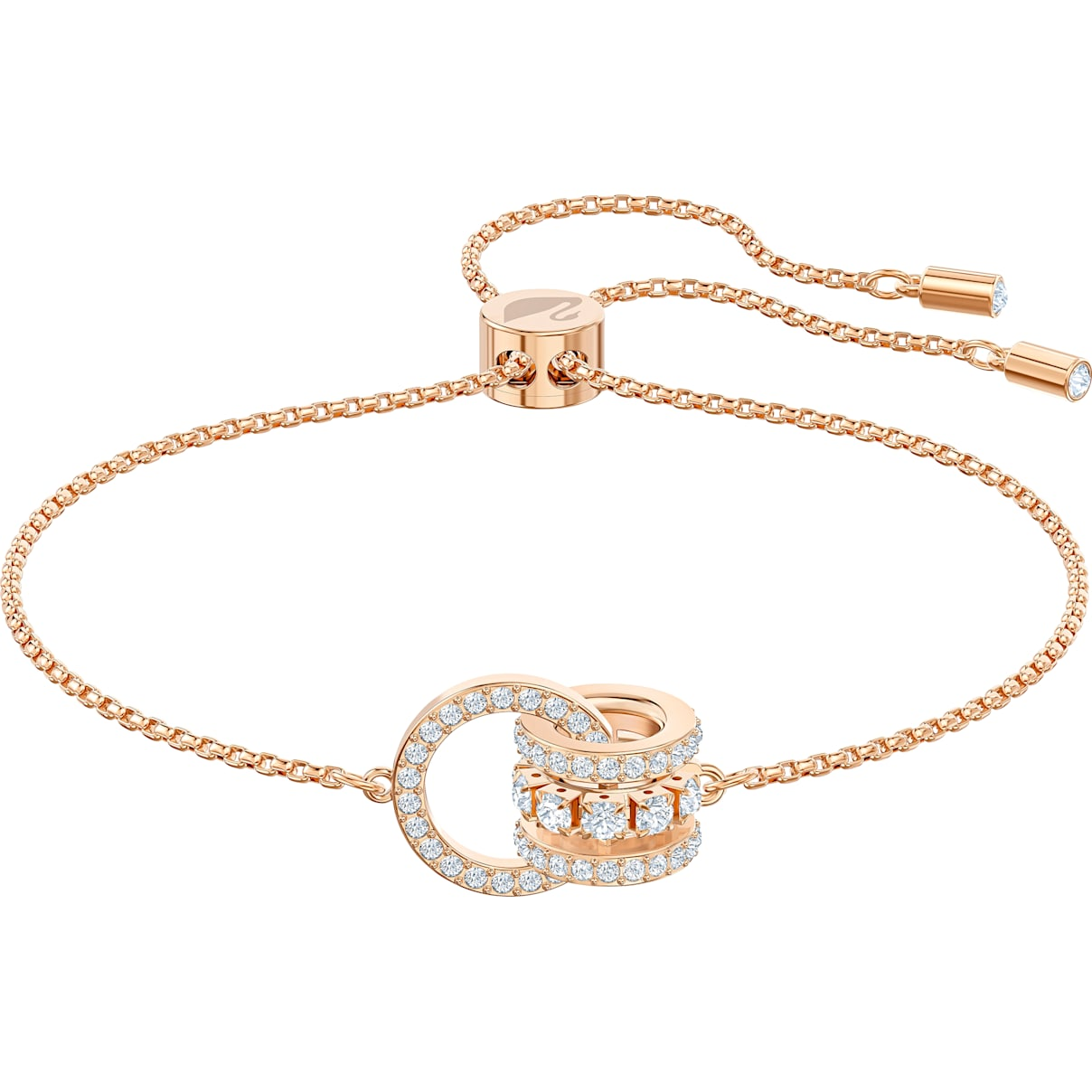 Swarovski Further Bracelet, White, Rose-gold tone plated