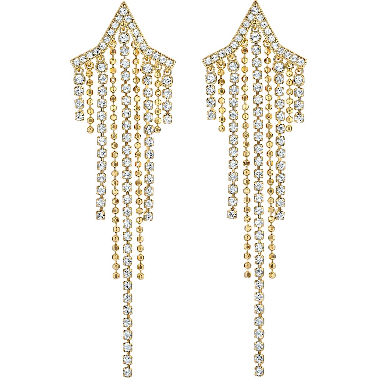 Swarovski Fit Star Pierced Tassell Earrings, White, Gold-tone plated