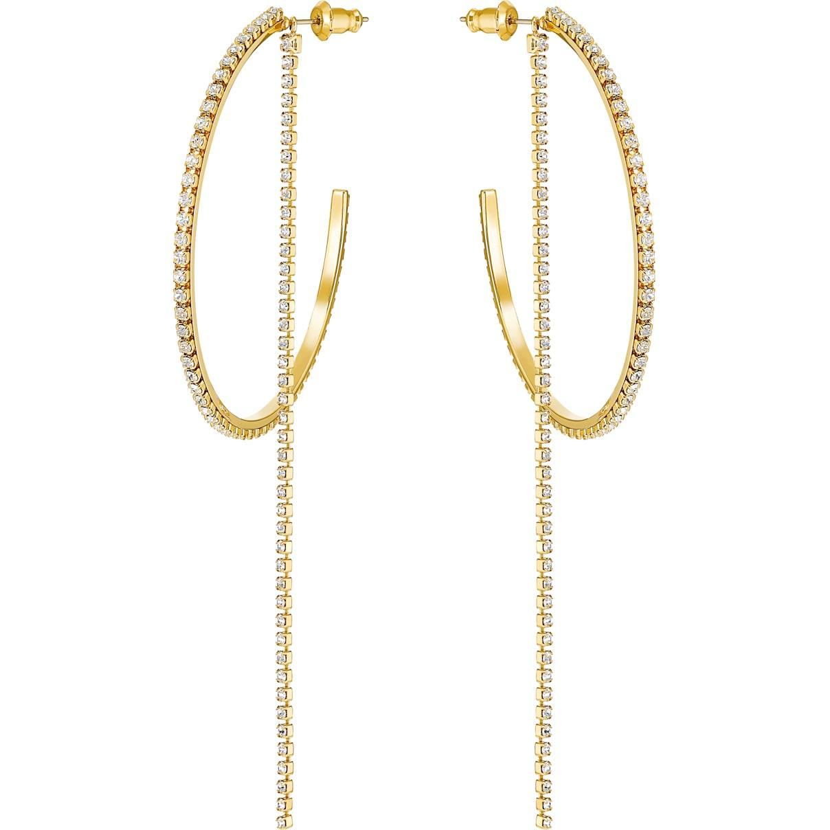 Swarovski Fit Hoop Pierced Earrings, White, Gold-tone plated
