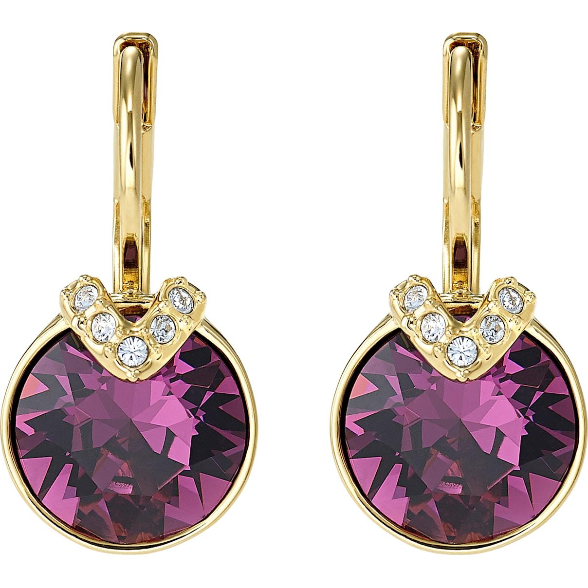 Swarovski Bella V Pierced Earrings, Purple, Gold-tone plated