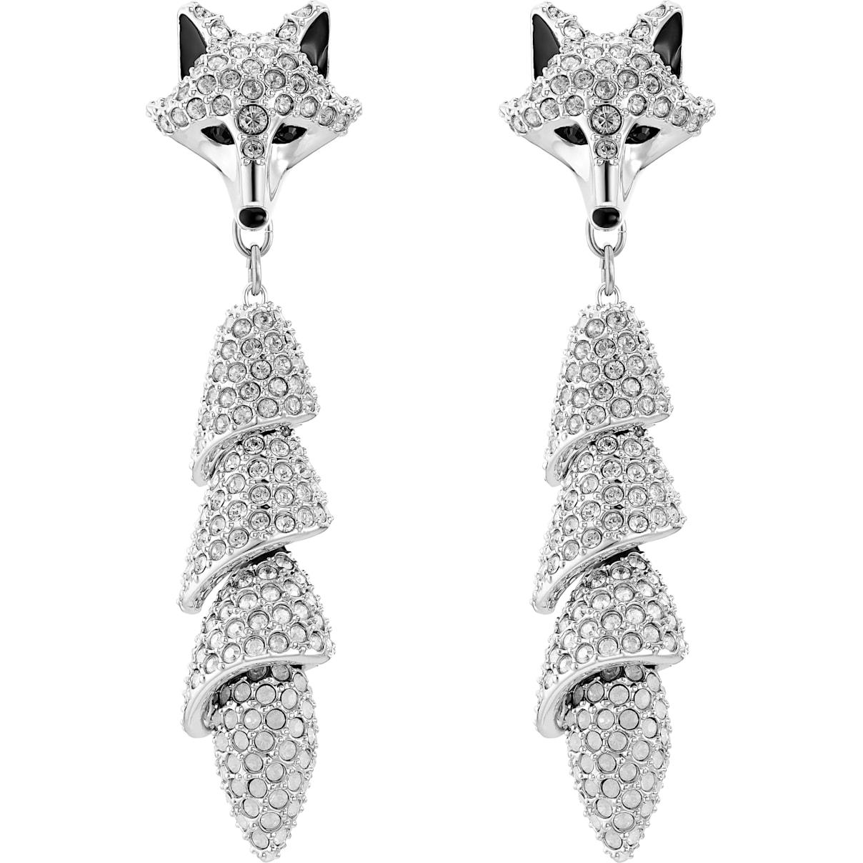 Swarovski Polar Bestiary Drop Pierced Earrings, Multi-colored, Rhodium plated