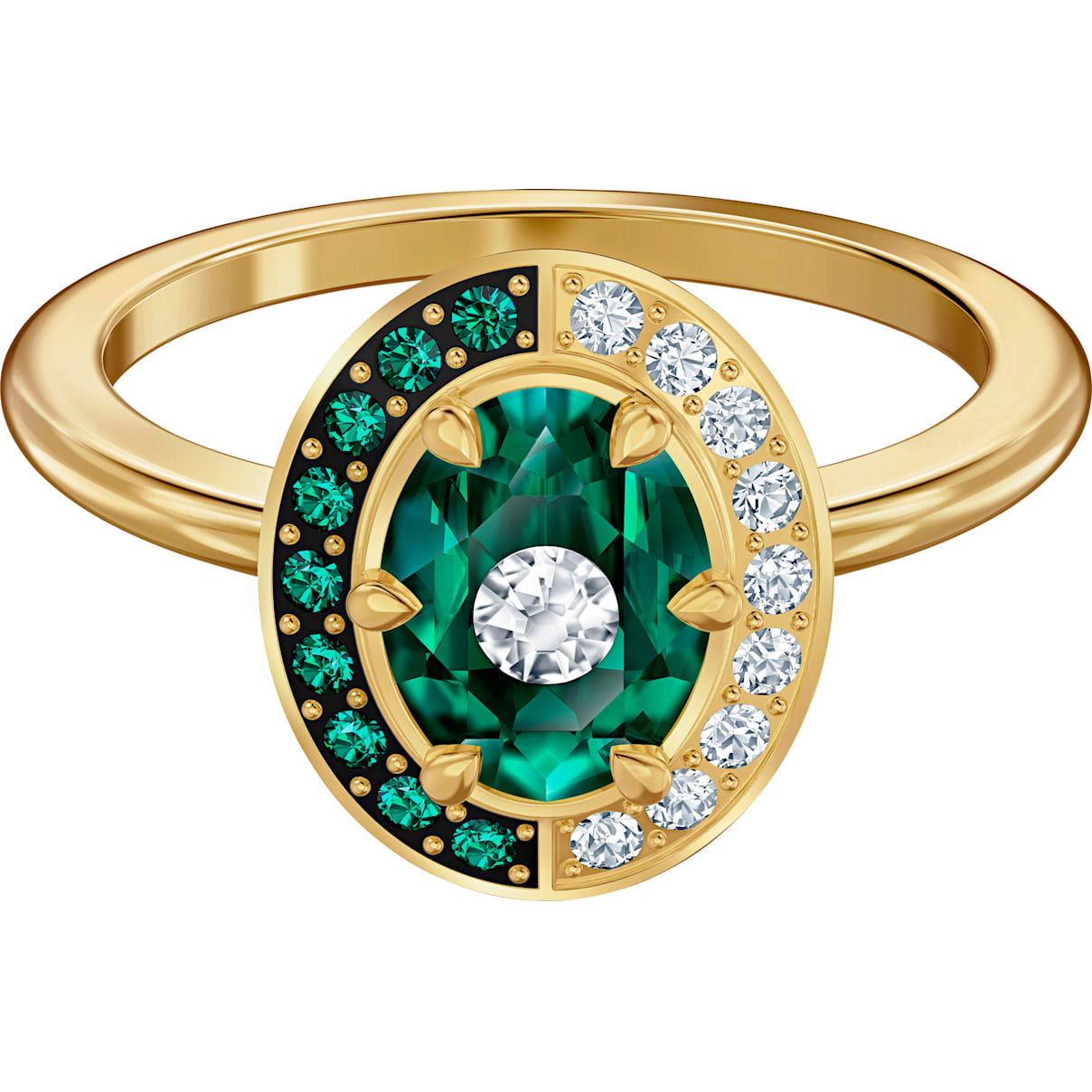 Swarovski Black Baroque Motif Ring, Green, Gold-tone plated