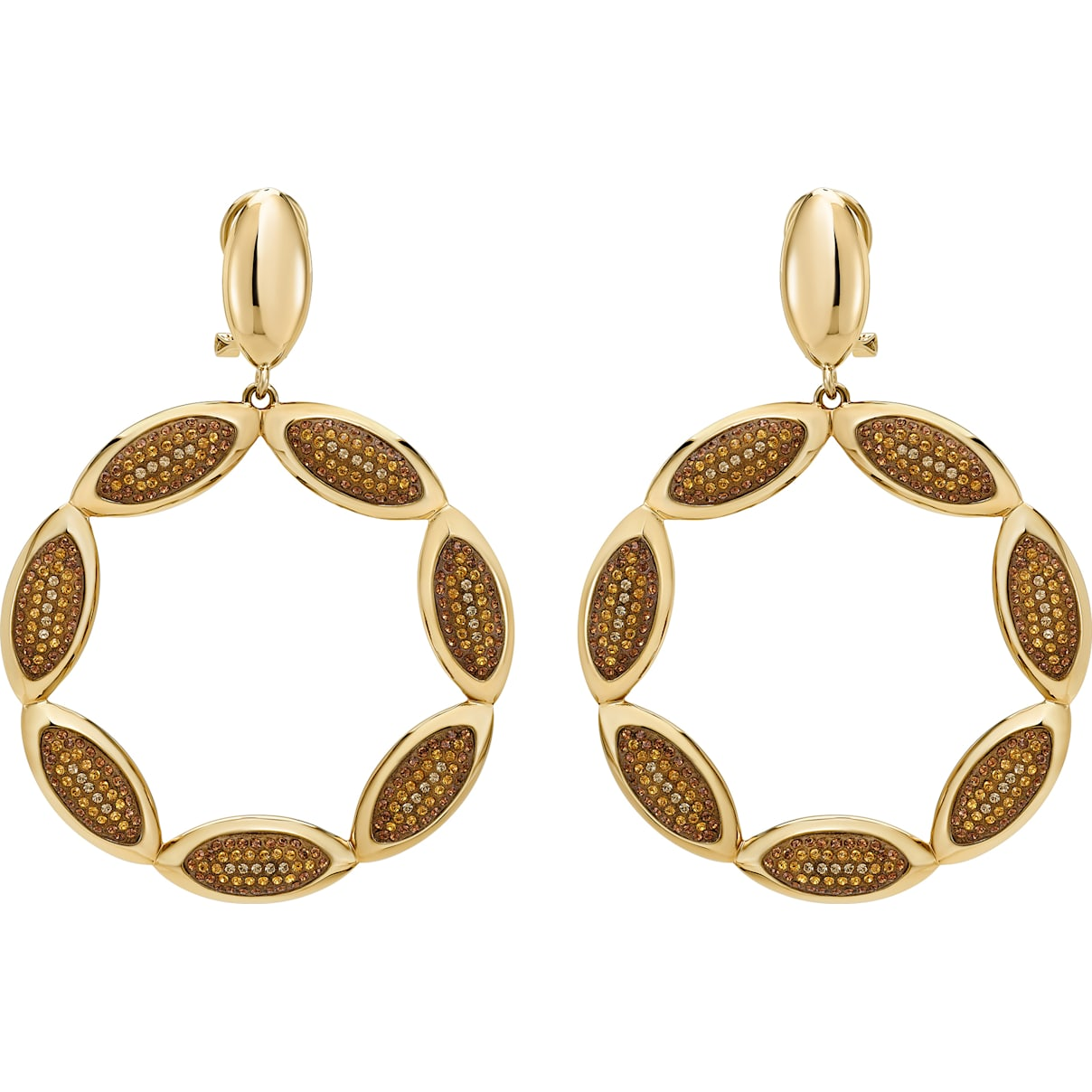 Swarovski Evil Eye Hoop Clip Earrings, Brown, Gold-tone plated