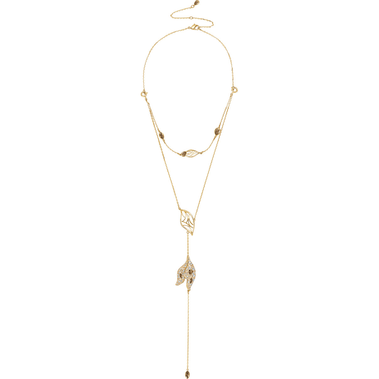 Swarovski Graceful Bloom Detachable Necklace, Brown, Gold-tone plated