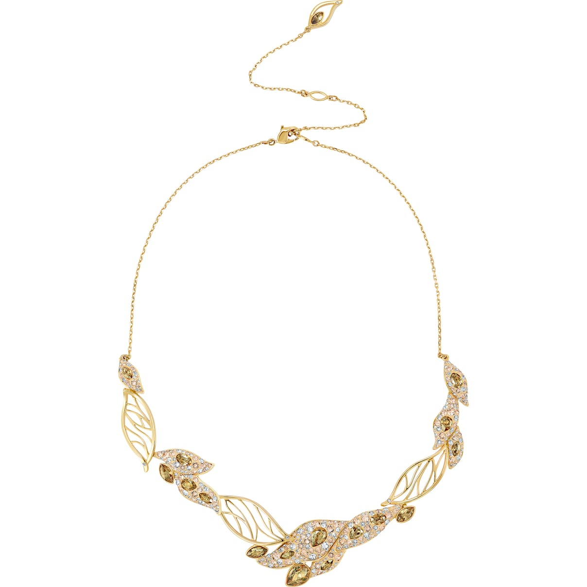 Swarovski Graceful Bloom Statement Necklace, Brown, Gold-tone plated