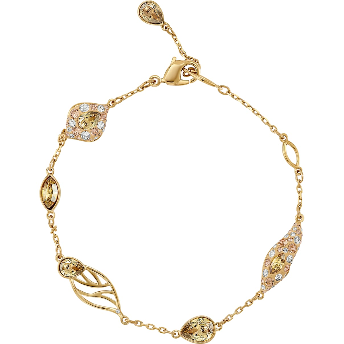 Swarovski Graceful Bloom Decorative Bracelet, Brown, Gold-tone plated