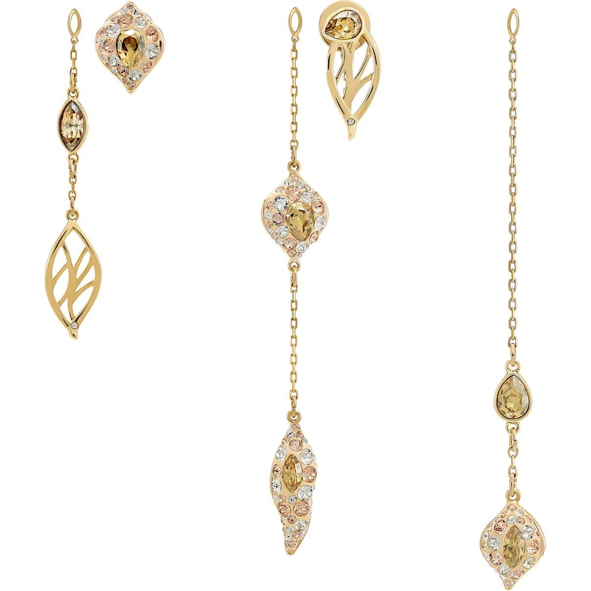 Swarovski Graceful Bloom Multi Drop Earrings, Brown, Gold-tone plated