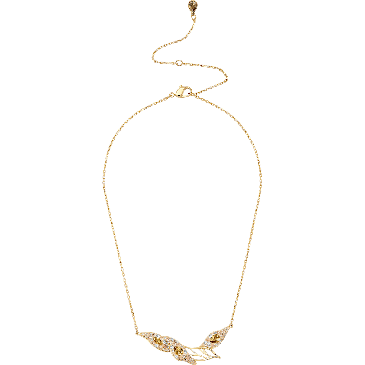 Swarovski Graceful Bloom Necklace, Brown, Gold-tone plated