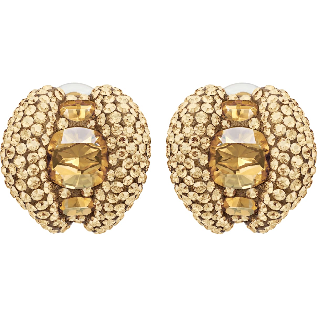 Swarovski Tigris Stud Clip Earrings, Brown, Gold-tone plated