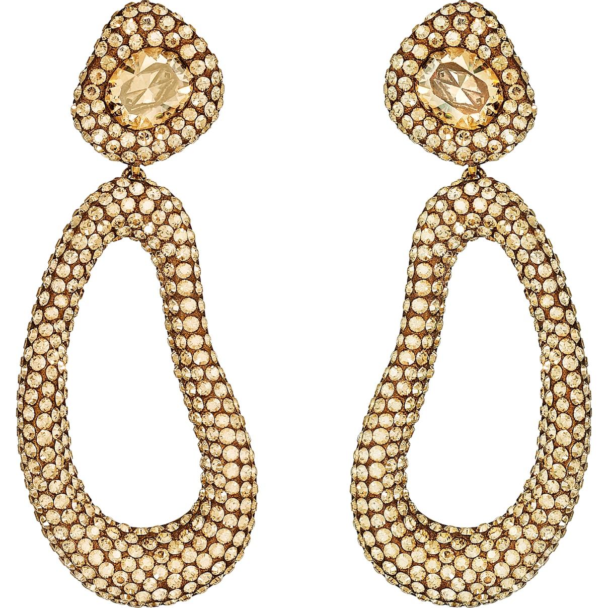 Swarovski Tigris Drop Clip Earrings, Brown, Gold-tone plated